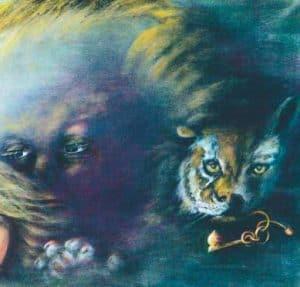 """Particolare del quadro acrilico """"La Scelta"""" di Aurora Mazzoldi - Rappresenta le forze interiori"""