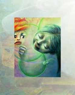 """Libera interpretazione del quadro acrilico """"Consolazione"""" di Aurora Mazzoldi"""