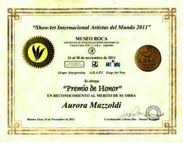 Aurora Mazzoldi, Museo Roca - Buenos Aires - PREMIO DE HONOR (1° premio)