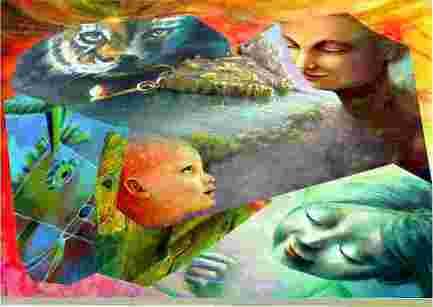 Foto di un patchwork di opere di Arte Introspettiva di Aurora Mazzoldi