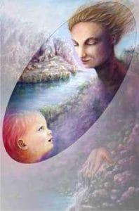 """Mazzoldi -Conversazioni Vere, senza paura di accogliere le emozioni (particolare dalla pittura acrilica """"Madre 4 - Le Possibilità"""")"""