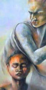 Mazzoldi - Reciprocità (da Madre1-Il Possesso, acrilico su tela). Un esempio di giochi di potere (psicologici) nei rapporti fra le persone.