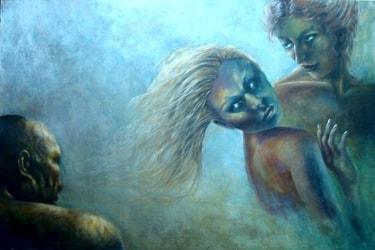 """""""Agganci"""", quadro acrilico di Aurora Mazzoldi."""