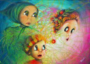 L'Imprevisto, quadro acrilico di Aurora Mazzoldi, illustra il concetto di spirale interiore