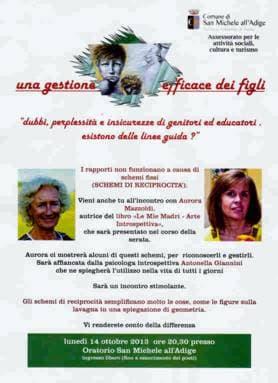Conferenza di Antonella Giannini e Aurora Mazzoldi a San Michele all'Adige (TN) - 2013