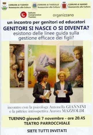 Conferenza di Antonella Giannini e Aurora Mazzoldi al teatro di Tuenno (TN) - 2013