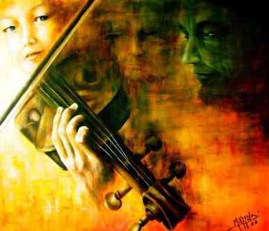 Aurora Mazzoldi - Musica - acrilico su tela - Un quadro narrativo