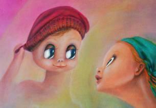 Aurora Mazzoldi, IL SOSPETTO, acrilico su tela, particolare (non condividere esperienze profonde)