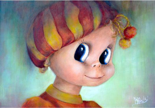 Aurora Mazzoldi - Jessica - acrilico su pannello telato per la pagina sui meccanismi interiori.