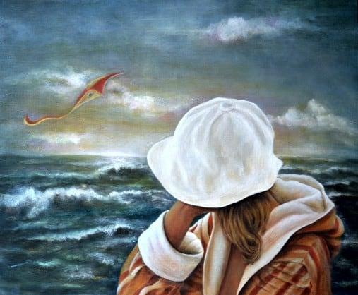 Aurora Mazzoldi, L'aquilone (pittura acrilica)., simbolo di un rapporto con la vita.