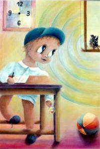 """""""Bambino a Scuola""""; acrilico su tela di Aurora Mazzoldi - Distrazioni nello studio di se stessi"""